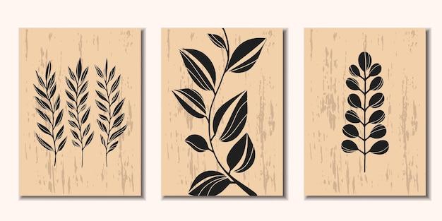 Kolekcja nowoczesnych plakatów z roślinnym minimalizmem