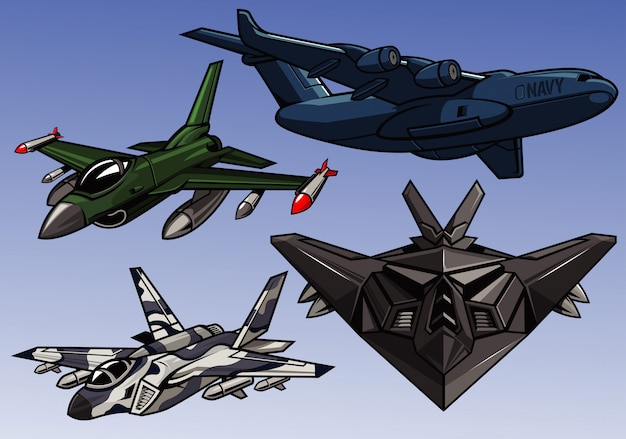 Kolekcja nowoczesnych samolotów wojskowych