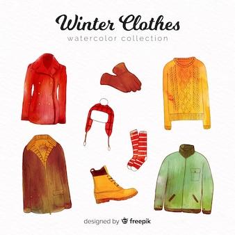 Kolekcja nowoczesnych zimowych ubrań akwarela
