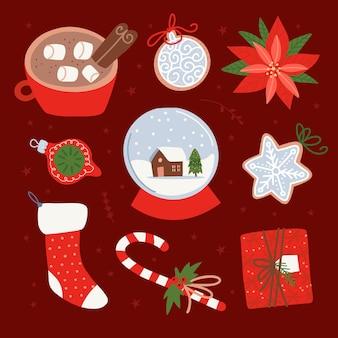 Kolekcja noworocznych dekoracji świątecznych świecące czerwone prezenty skarpety świąteczne kubek kakaowy imbir...