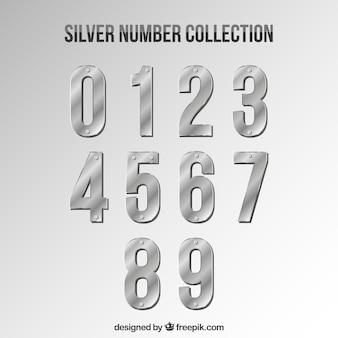 Kolekcja numerów w srebrnym stylu