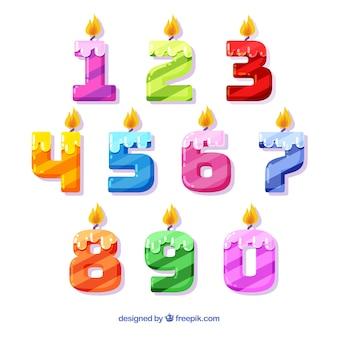 Kolekcja numerów ze stylem świec