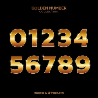 Kolekcja numerów ze złotym stylem