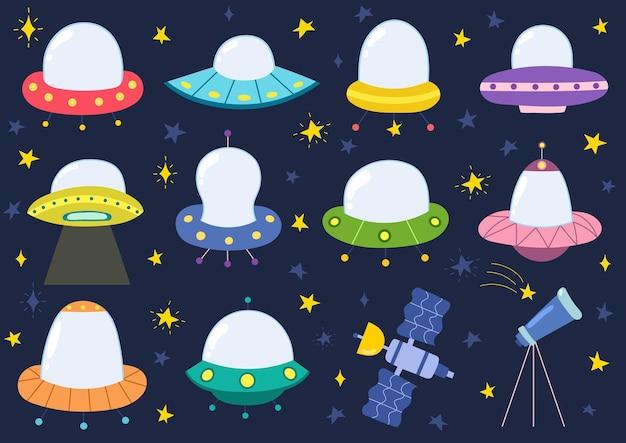 Kolekcja obcych statków kosmicznych ufo statki na białym tle zestaw elementów