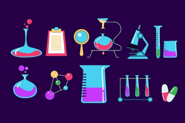Kolekcja obiektów laboratorium naukowego