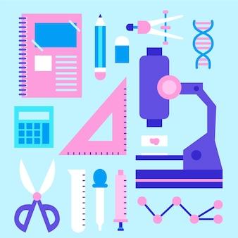Kolekcja obiektów w laboratorium naukowym
