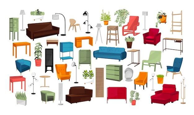 Kolekcja obiektów wnętrz do projektowania pomieszczeń. meble, rośliny domowe, lampy.