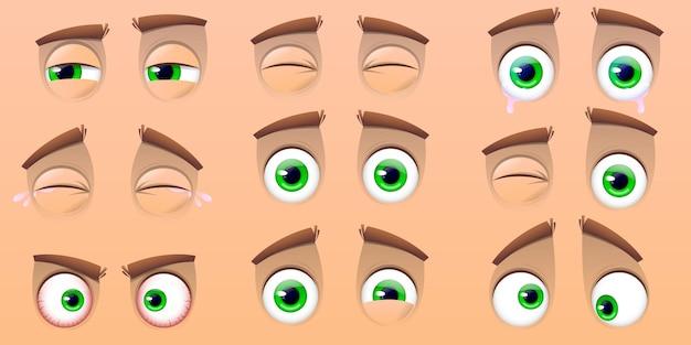 Kolekcja oczu kreskówka na białym tle na beżowym tle. wyrażenia z różnymi emocjami, płaczące oczy, śmiech, gniewne i słodkie mrugające oczy. ilustracja wektorowa