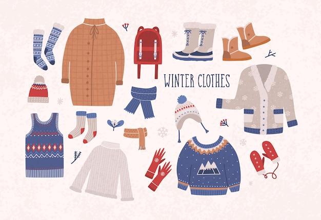Kolekcja odzieży zimowej i odzieży wierzchniej na białym tle