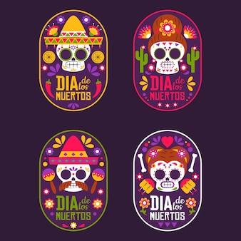 Kolekcja odznak dia de muertos w płaskiej konstrukcji