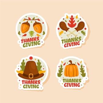Kolekcja odznak dziękczynienia w płaskiej konstrukcji