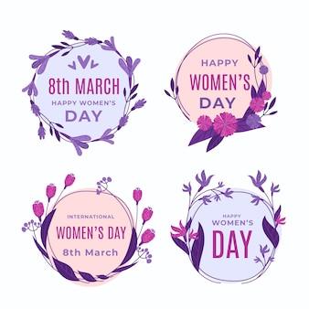 Kolekcja odznak dzień kobiet płaska
