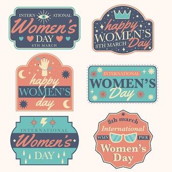 Kolekcja odznak dzień kobiet w stylu vintage