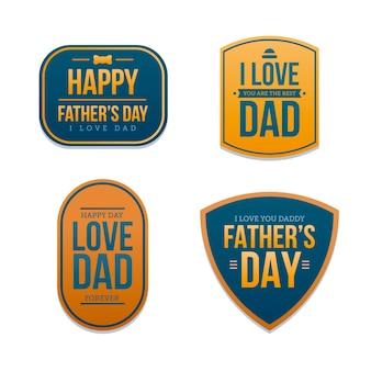 Kolekcja odznak dzień ojca płaska