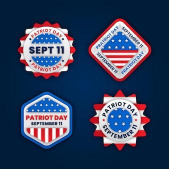 Kolekcja odznak dzień patriota w stylu papieru 9.11