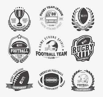 Kolekcja odznak i etykiet Rugby