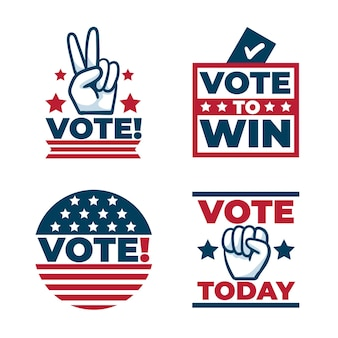 Kolekcja odznak i naklejek do głosowania