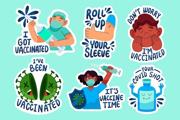 Kolekcja odznak kampanii szczepień kreskówek