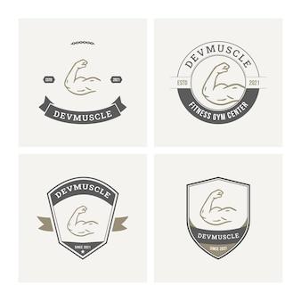 Kolekcja odznak logo fitness siłowni