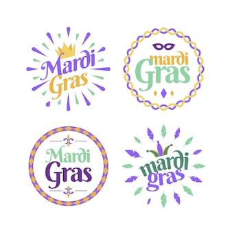 Kolekcja odznak mardi gras