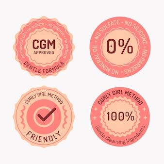 Kolekcja Odznak Metodą Kręconych Włosów Premium Wektorów