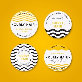 Kolekcja Odznak Metodą Kręconych Włosów Darmowych Wektorów