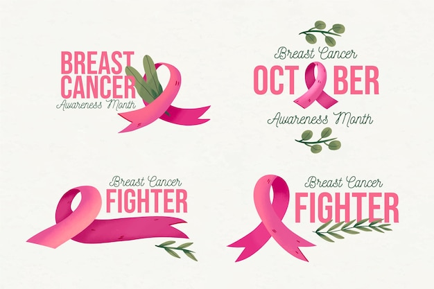 Kolekcja odznak miesiąca świadomości raka piersi