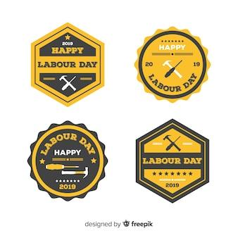 Kolekcja odznak na dzień pracy