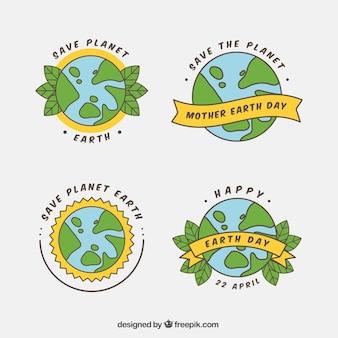Kolekcja odznak na dzień ziemi matki