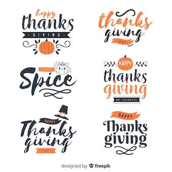 Kolekcja odznak napis happy thanksgiving