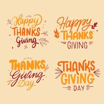 Kolekcja odznak napis szczęśliwy dziękczynienia