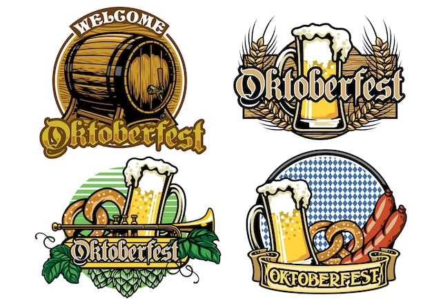 Kolekcja odznak oktoberfest w pełnym kolorze