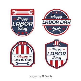 Kolekcja odznak płaska święto pracy