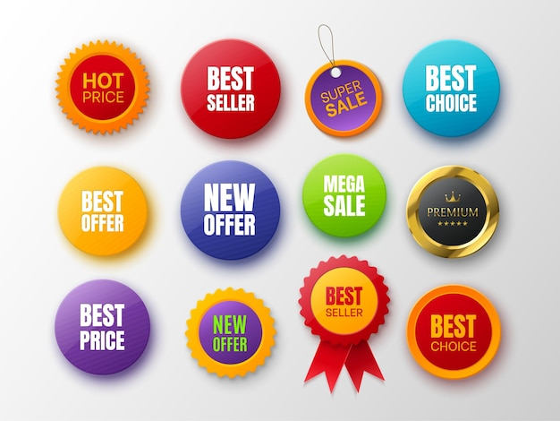 Kolekcja odznak promocyjnych różne kolory i kształty odznaki na białym tle nowa oferta najlepszy wybór najlepsza cena i premium tagi ilustracji wektorowych
