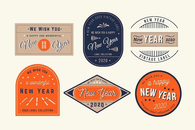 Kolekcja odznak rocznika nowy rok 2020