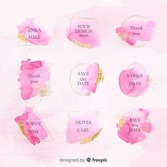 Kolekcja odznak ślubnych akwarela
