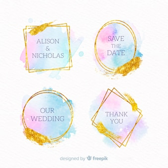 Kolekcja odznak ślubnych z plamami akwarela