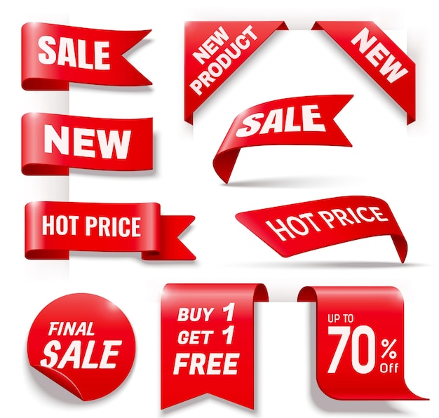 Kolekcja odznak sprzedaży biznesowej w kolorze czerwonym, ilustracja 3d