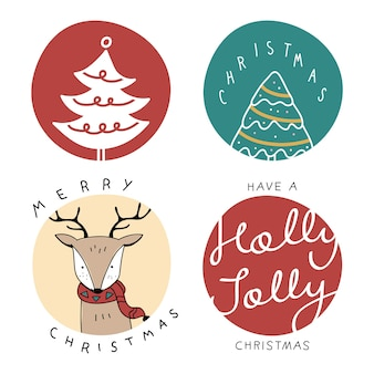Kolekcja odznak świątecznych kreskówka