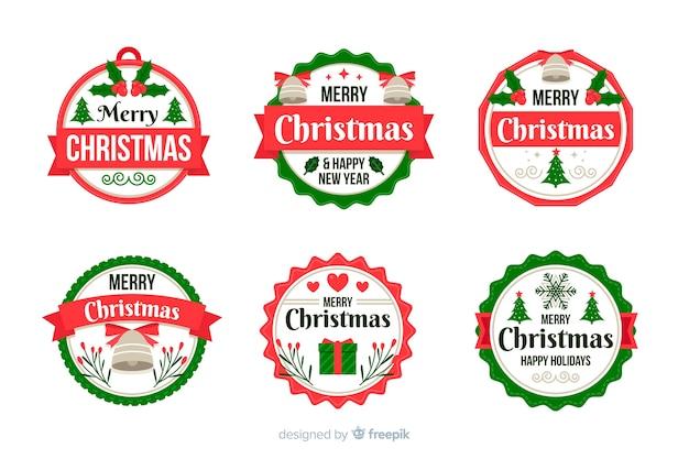 Kolekcja odznak świątecznych w płaskiej konstrukcji