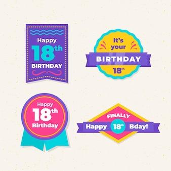 Kolekcja odznak urodzinowych 18