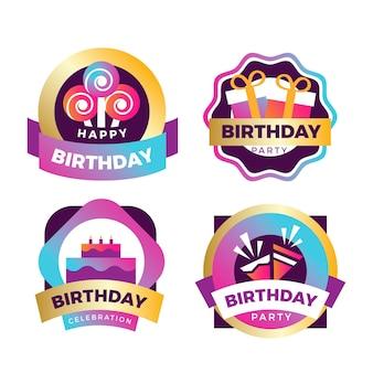 Kolekcja odznak urodzinowych gradientu