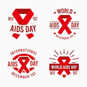 Kolekcja odznak world aids day z czerwonymi wstążkami