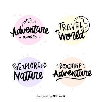 Kolekcja odznak z napisem podróżnym