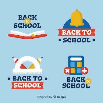 Kolekcja odznak z płaskim powrotem do szkoły