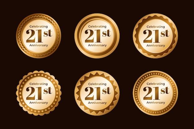 Kolekcja odznak złotej 21 rocznicy