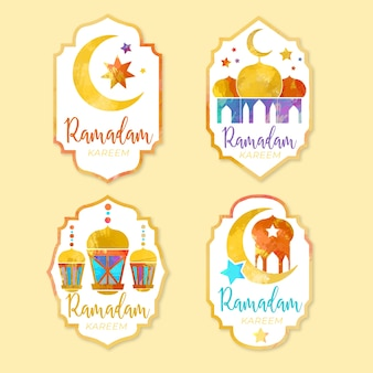 Kolekcja odznaka akwarela ramadan