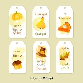 Kolekcja odznaka akwarela święto dziękczynienia