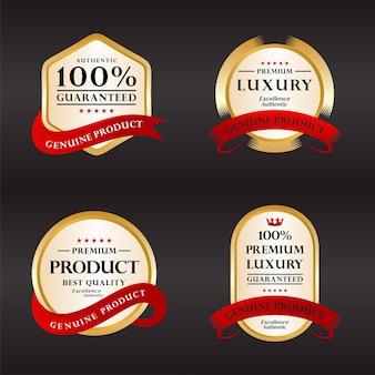 Kolekcja odznaka certyfikacyjna gwarancja 100% satysfakcji w kolorze złotym i srebrnym