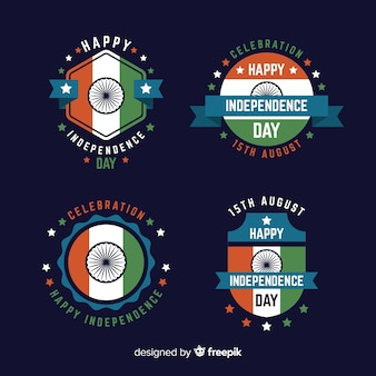 Kolekcja odznaka dzień niepodległości płaskim indii
